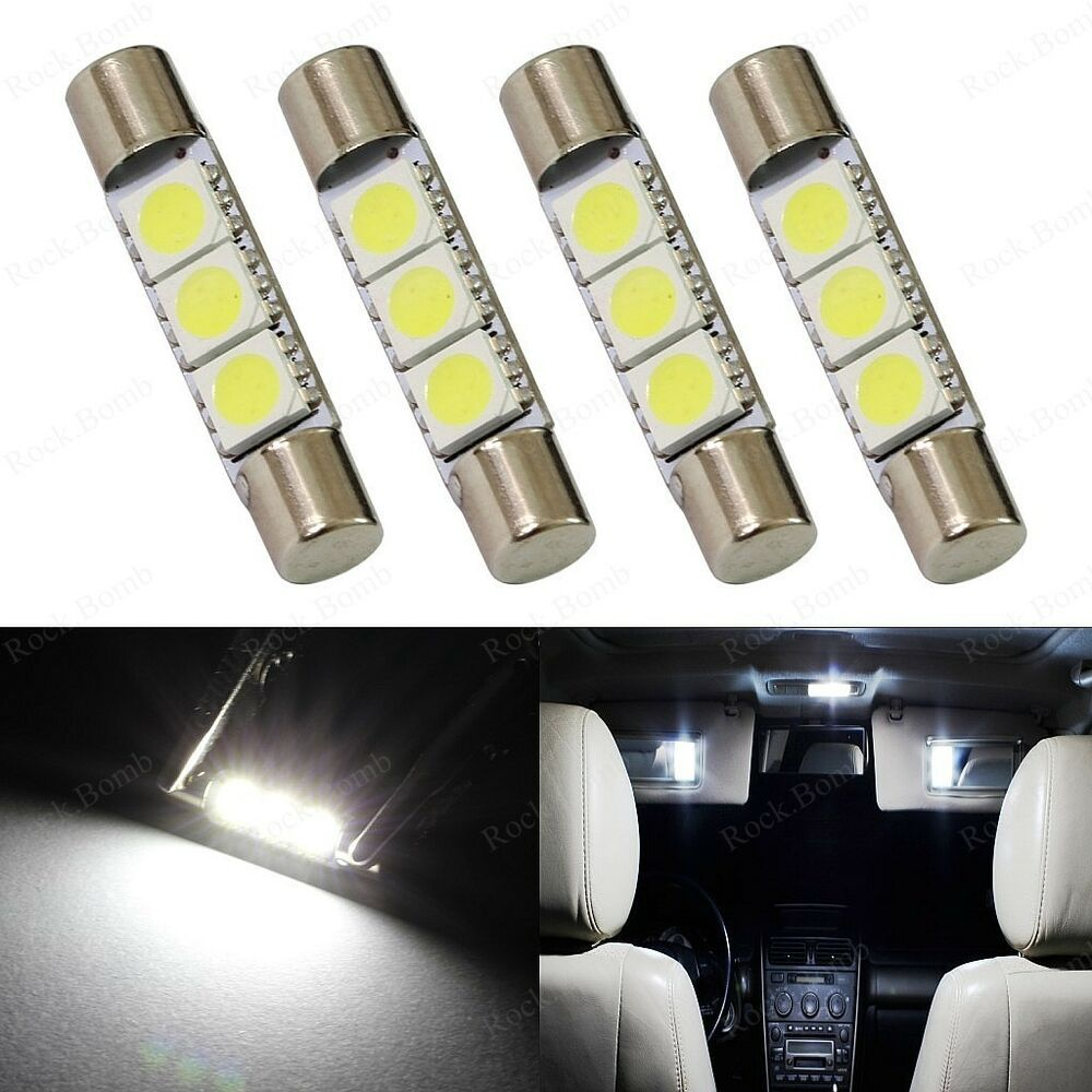 4 x xenon white 3 smd 6641 led bulb for car sun visor vanity mirror fuse lights ebay. Black Bedroom Furniture Sets. Home Design Ideas