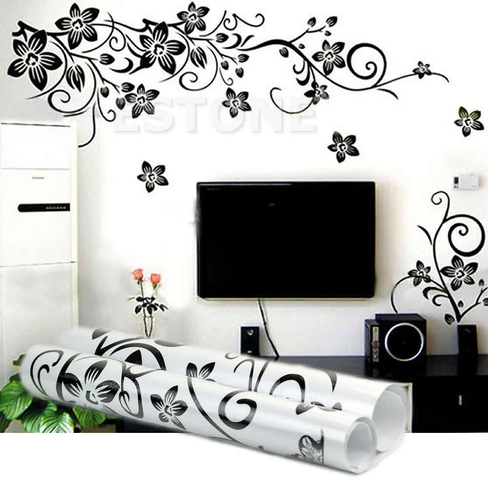Black flowers removable wall stickers wall decals mural for Design wall mural