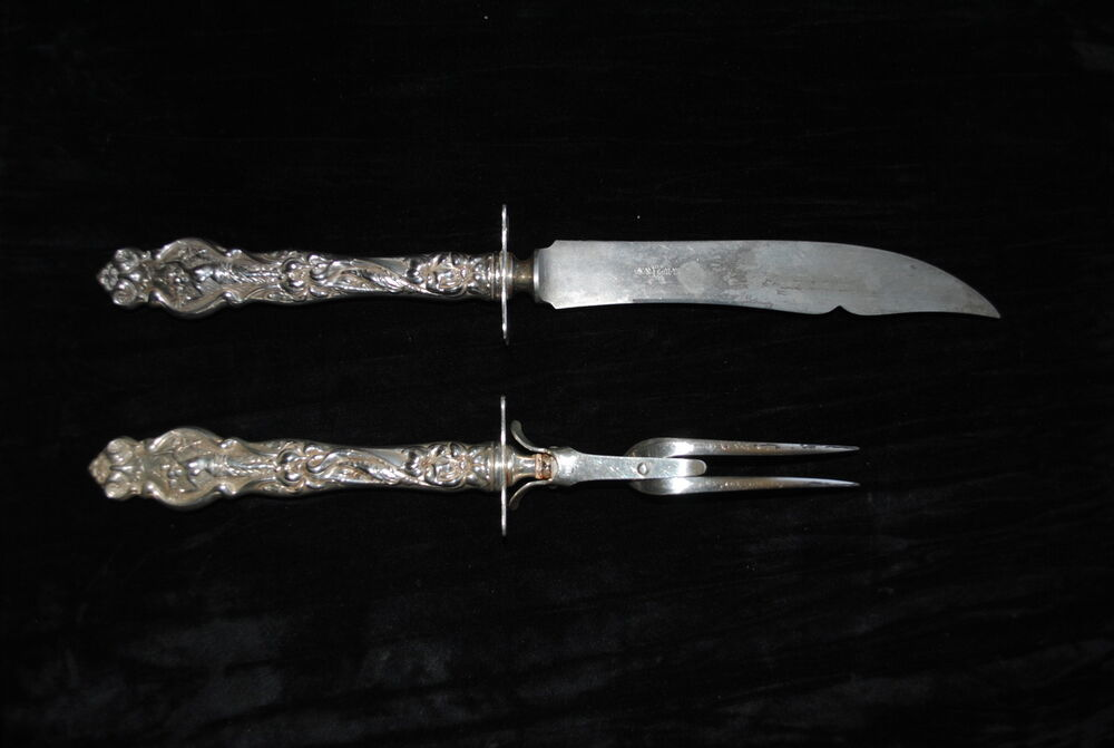 Sterling silver wallace irian piece carving set ebay