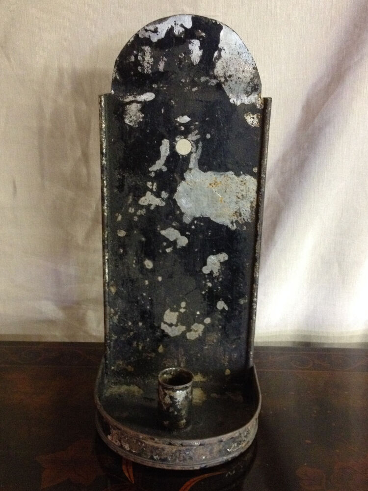 Antique Primitive 18th / 19th Century American or English Tin Candle Wall Sconce eBay
