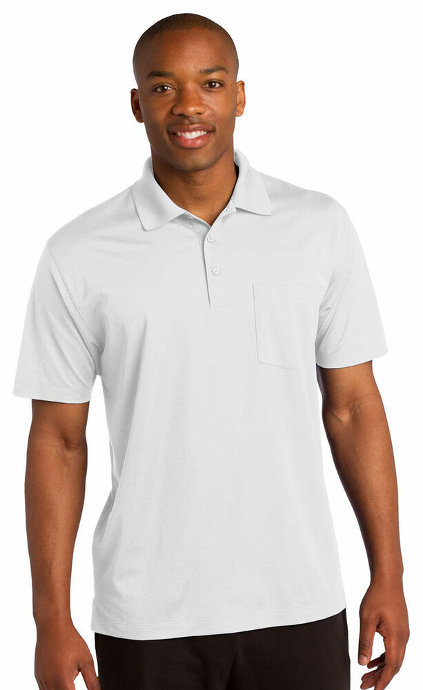 Sport tek men 39 s dri fit short sleeve pocket golf polo for Men s athletic polo shirts