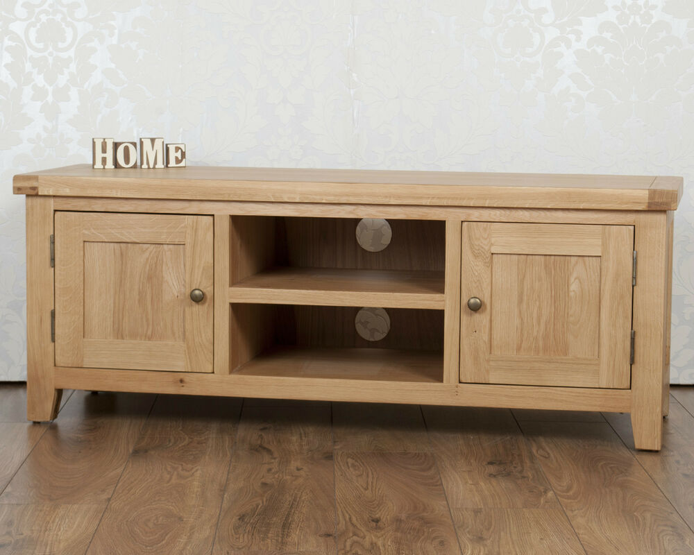 Solid Oak TV Cabinet Stand Plasma Bench Unit Cabinet