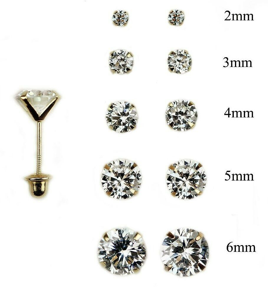 14k Yellow Gold Baby Stud Earring Screw Back For Women Round 2mm  6mm