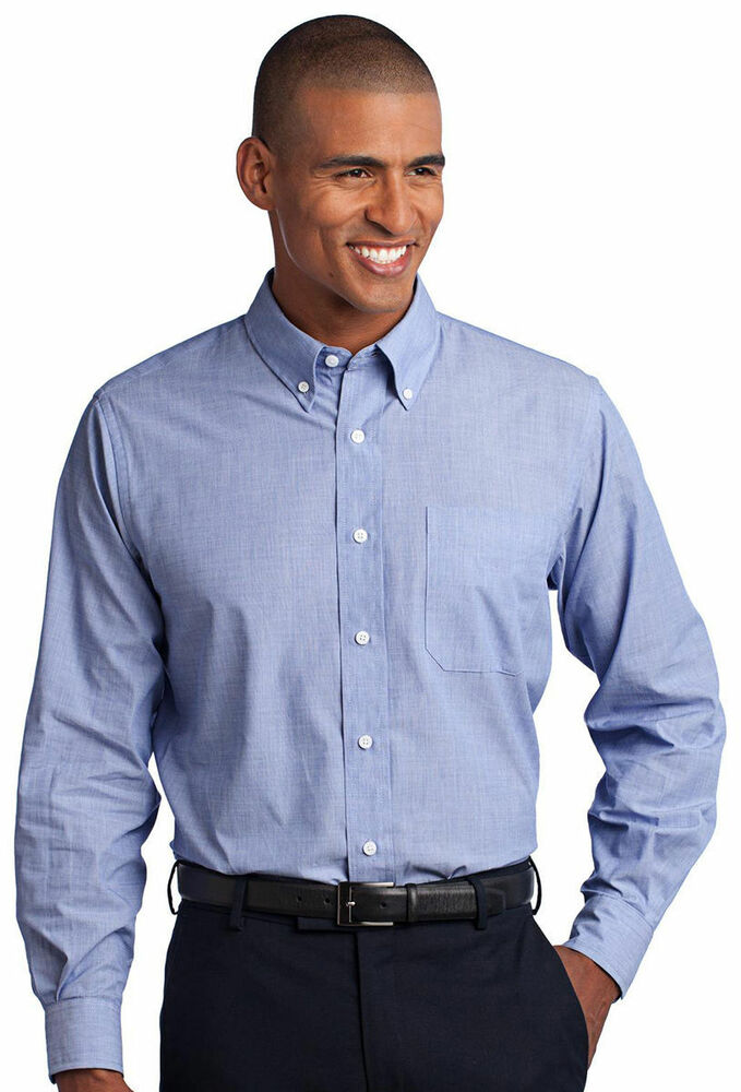 Port authority men 39 s big tall wrinkle resist button down for Tall mens dress shirts