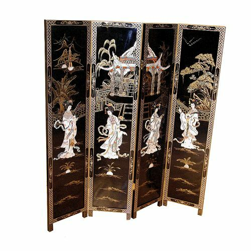 Mother of pearl oriental furniture black lacquer 4 panel for South asian furniture