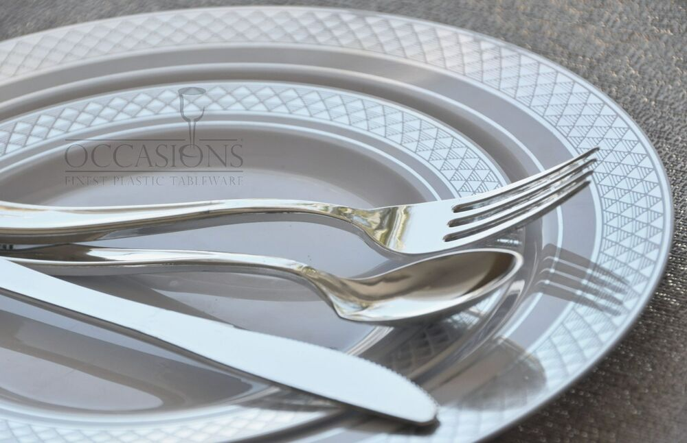 Occasions Wedding Disposable Plastic Party Plates Silverware Set Combo Ebay