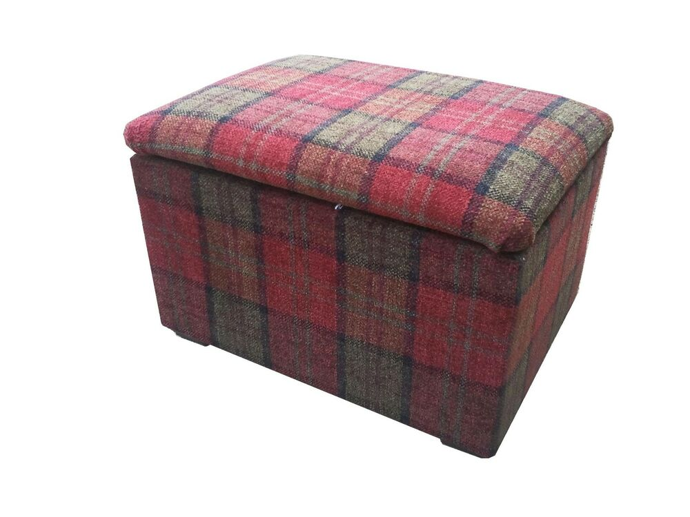 Footstools Pouffes With Storage In A Quality Red Tartan