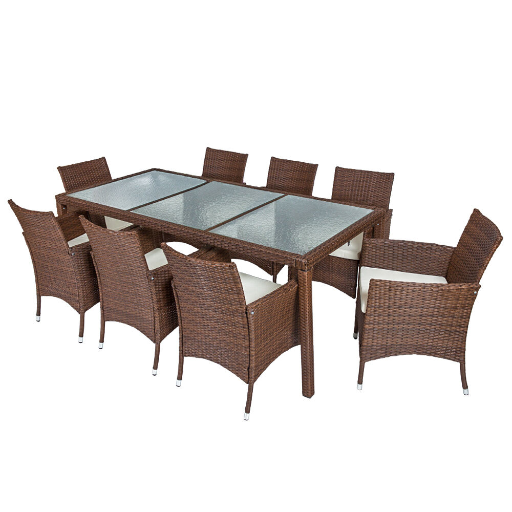 8 seater table rattan garden furniture dining chairs set for Outdoor furniture 8 seater