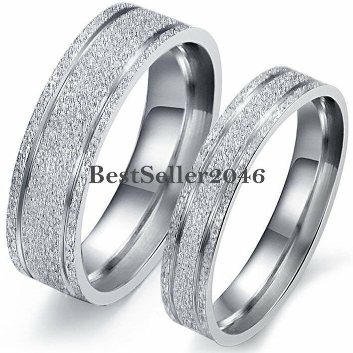 Frosted Silver Stainless Steel Mens Womens Engagement Ring Couples Wedding Band