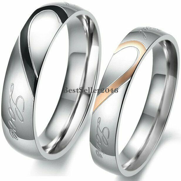 stainless steel real love heart couples promise engagement ring wedding band ebay - Wedding Rings Ebay