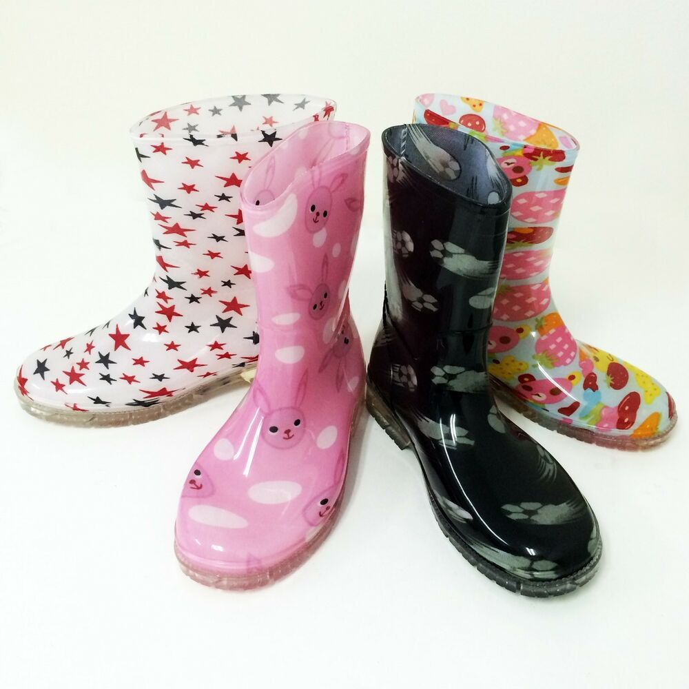 New Children Rain Boots Print Colors Kids Boys Girls