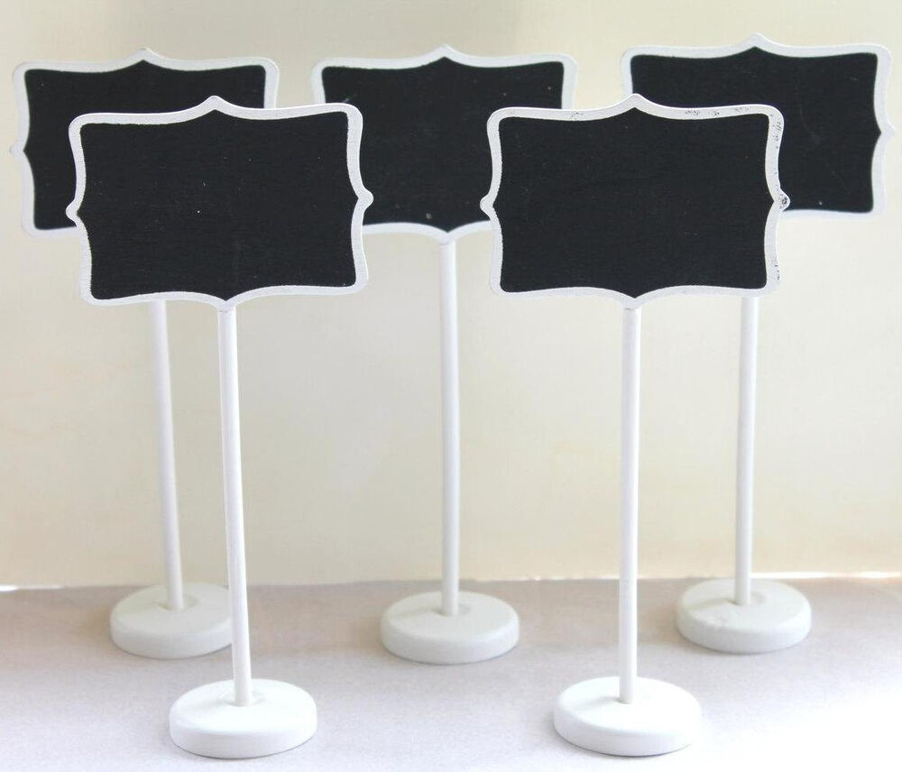 Set Of 5 White Mini Chalkboard Stands Party Wedding