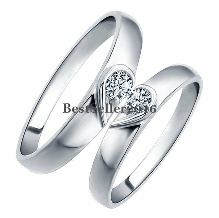 matching heart shape silver love engagement promise ring