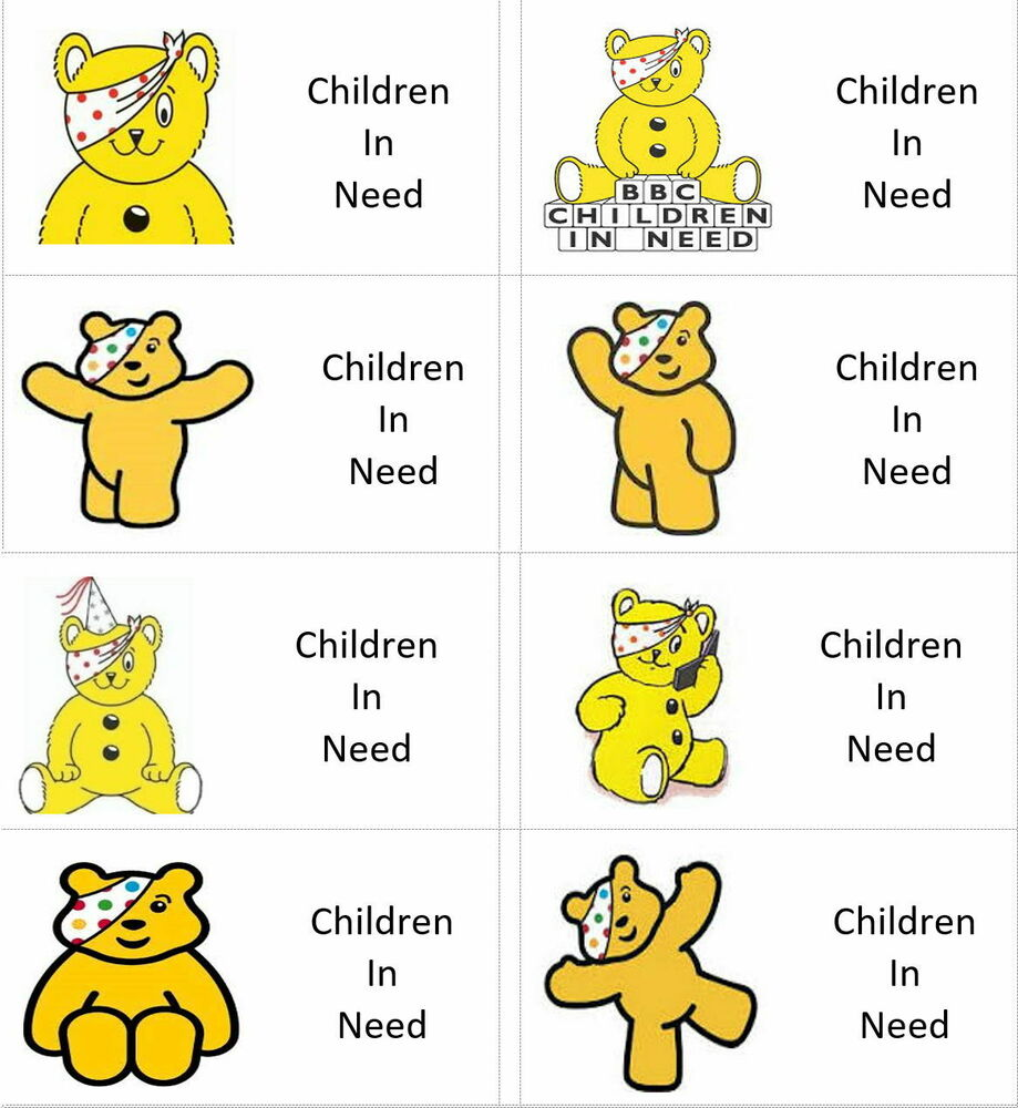 40 x Children in need/pudsey bear Day (M) labels/stickers ...