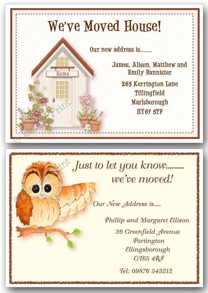 Personalised Change Of Address New Home House Moving Cards