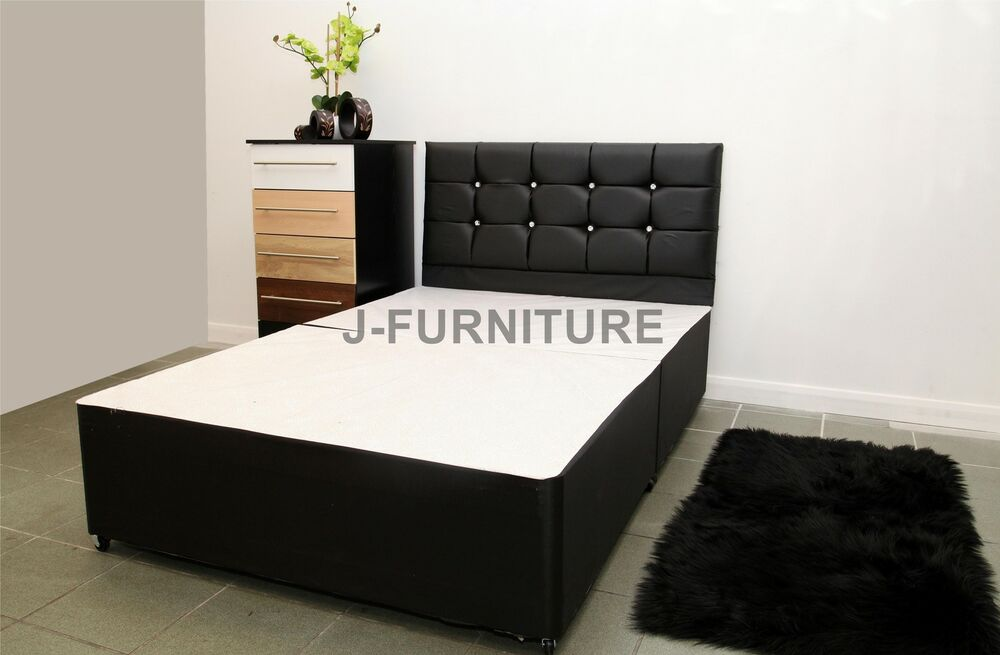 4ft6 Standard Double Divan Bed Base With Drawers Crystal Diamond Headboard Ebay