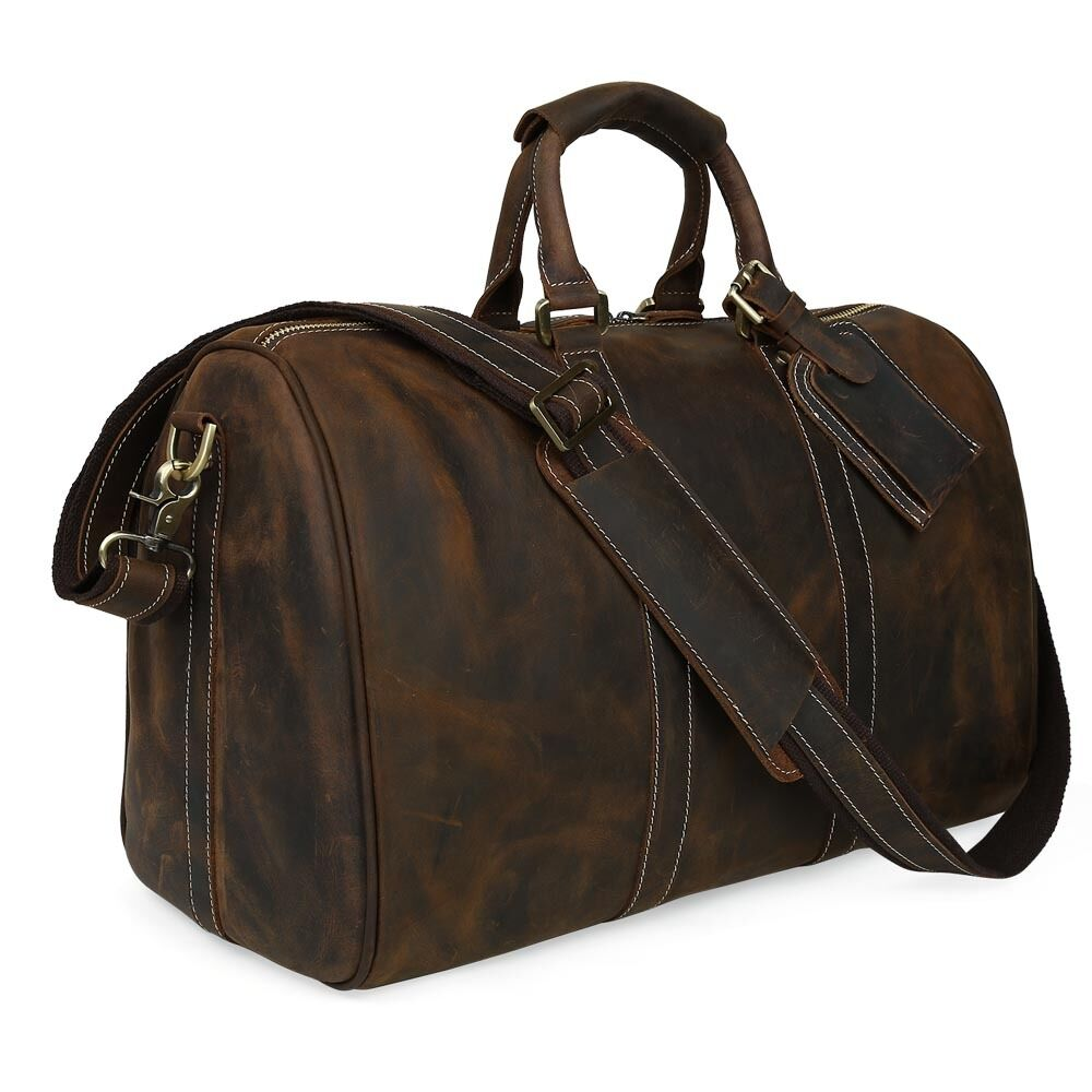 Gift Luggage Mens Travel Duffle Vintage cowhide Leather ...