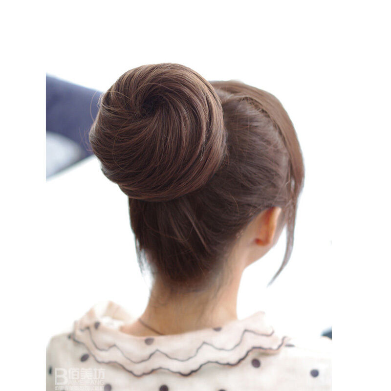new lady updo clip on bun dish dome hair extensions chignon hairpiece 3colors ebay. Black Bedroom Furniture Sets. Home Design Ideas