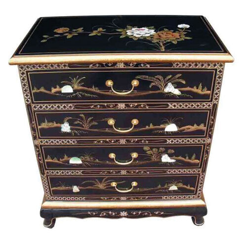 Mother of pearl oriental furniture black lacquer chest for Asian furniture uk