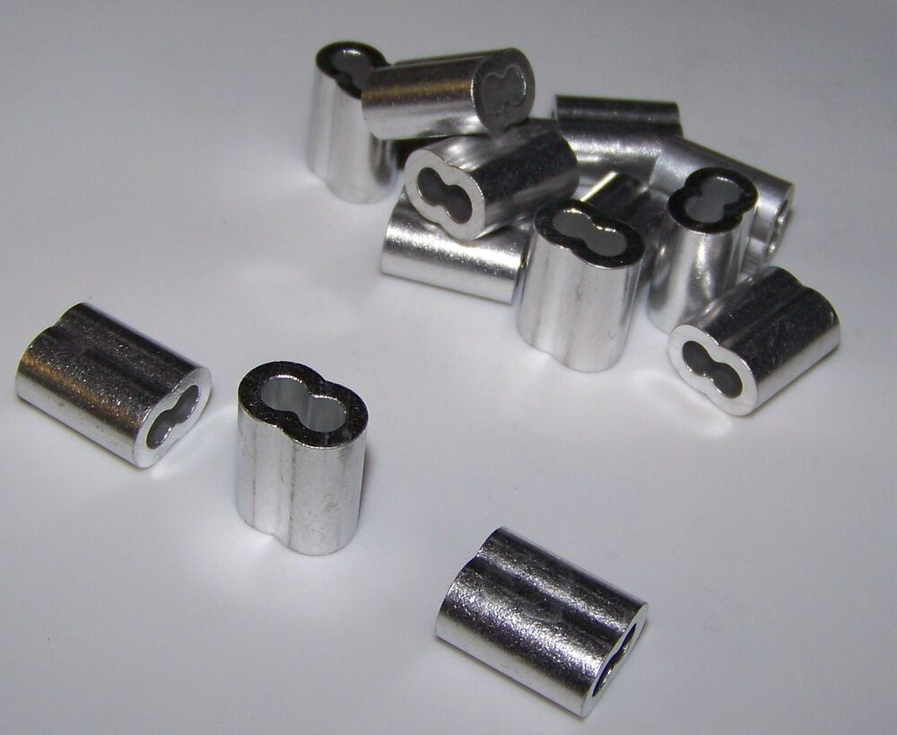 1 8 Quot Aluminum Cable Crimps Sleeves Lot Of 50 New Ebay