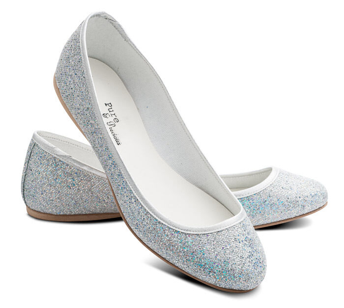 White Sparkly Flower Girl Shoes