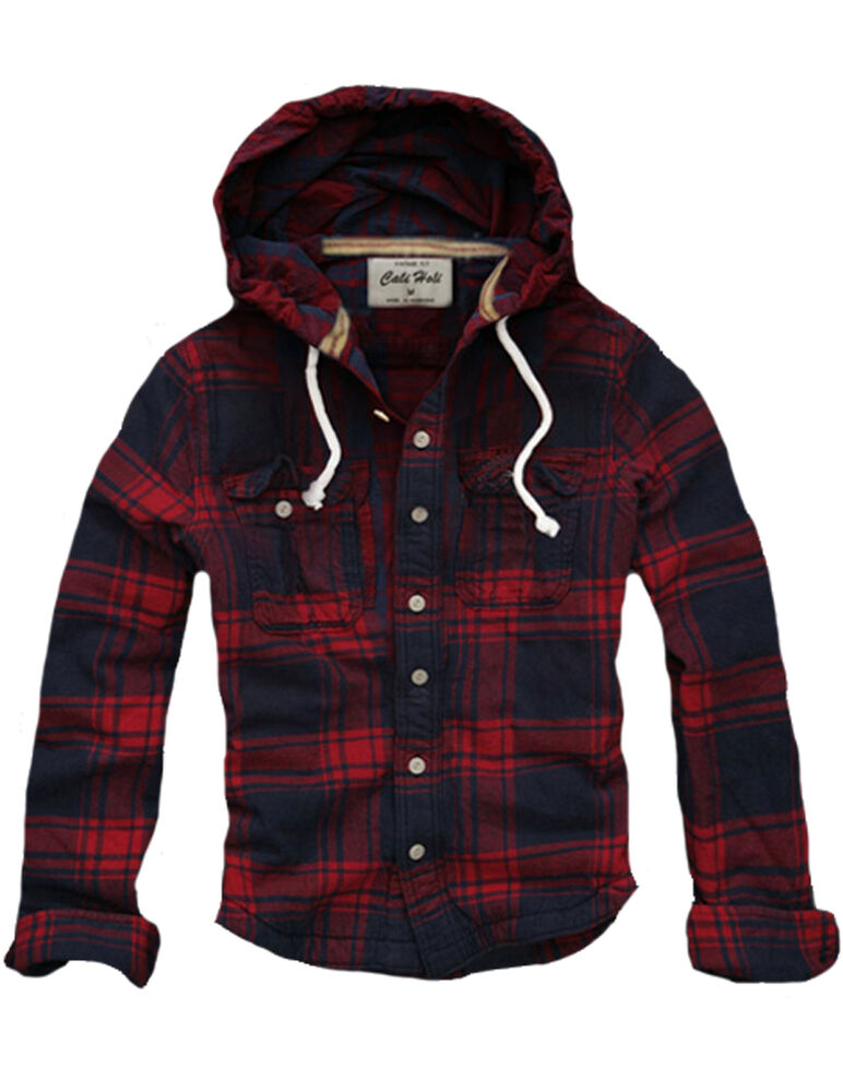 Mens muscle fit hooded check flannel hoodie shirt jacket for Men s hooded flannel shirt jacket