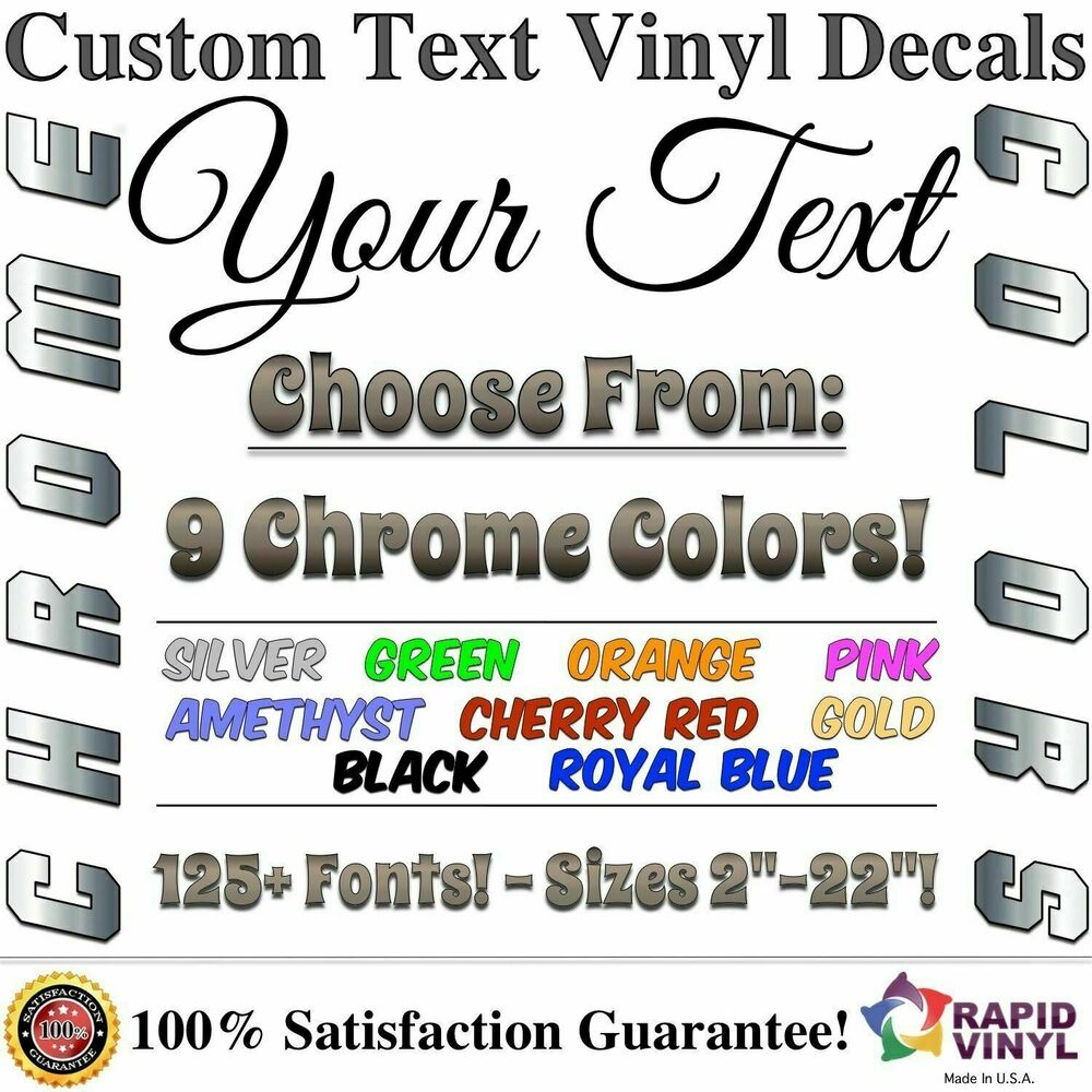 chrome custom vinyl lettering text decal car truck boat rv With lettering decals for vehicles