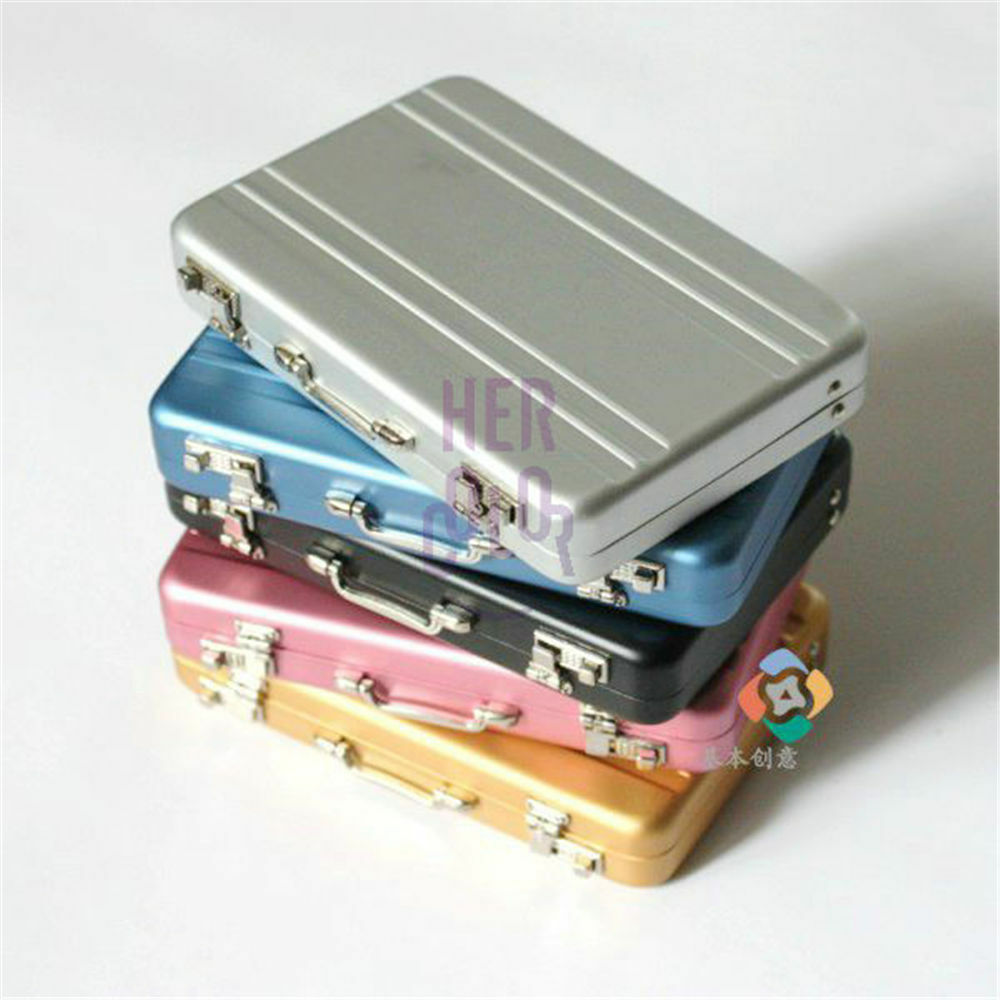 Mini aluminum safe suitcase briefcase business credit bank for Briefcase business card holder