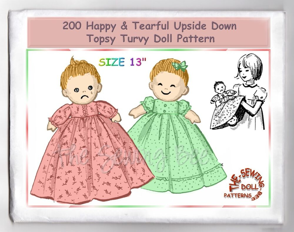 Knitting Pattern For Upside Down Doll : 200 Happy Tearful upside down - Topsy Turvy doll pattern vintage rag cloth do...