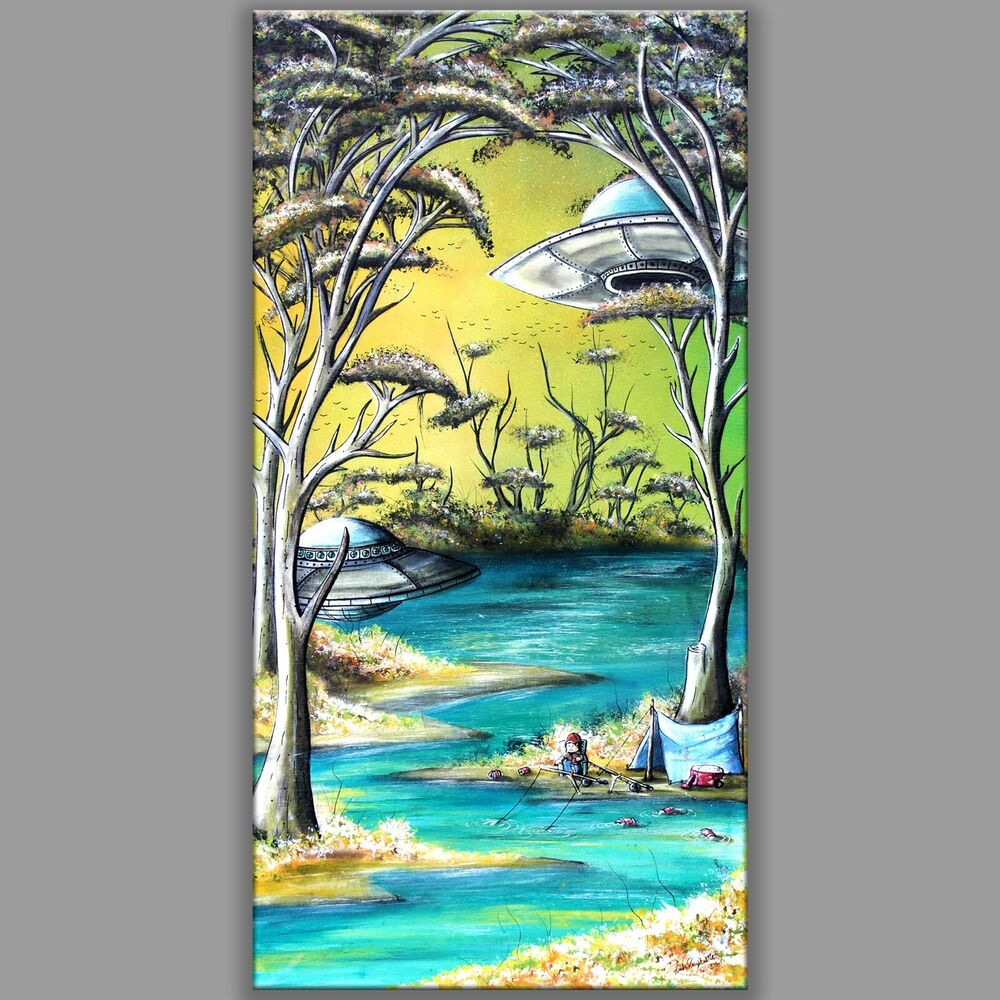 12x24 gone fishing tattoo lake tree ufo beer camping for Fish in a tree summary