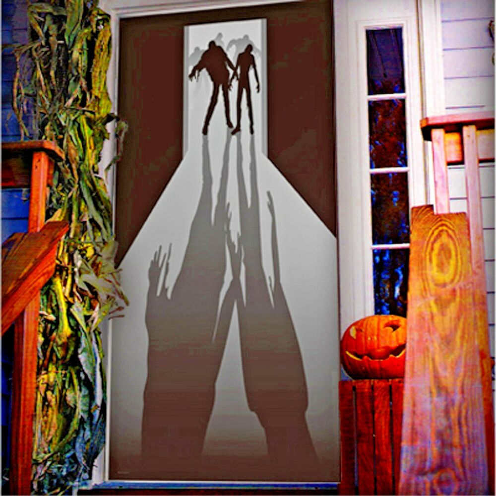 Decorating Ideas # Walking Dead ZOMBIE VISITORS DOOR COVER Wall Mural Haunted