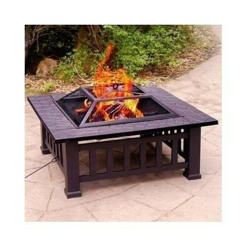32 fire pit with cover wood burning outdoor party grill for Buy outdoor fire pit