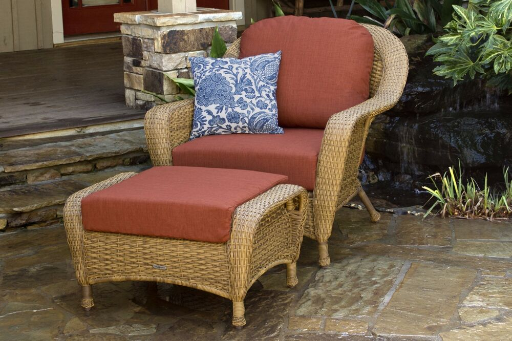 outdoor patio garden furniture mojave resin wicker club chair and ottoman bundle ebay. Black Bedroom Furniture Sets. Home Design Ideas