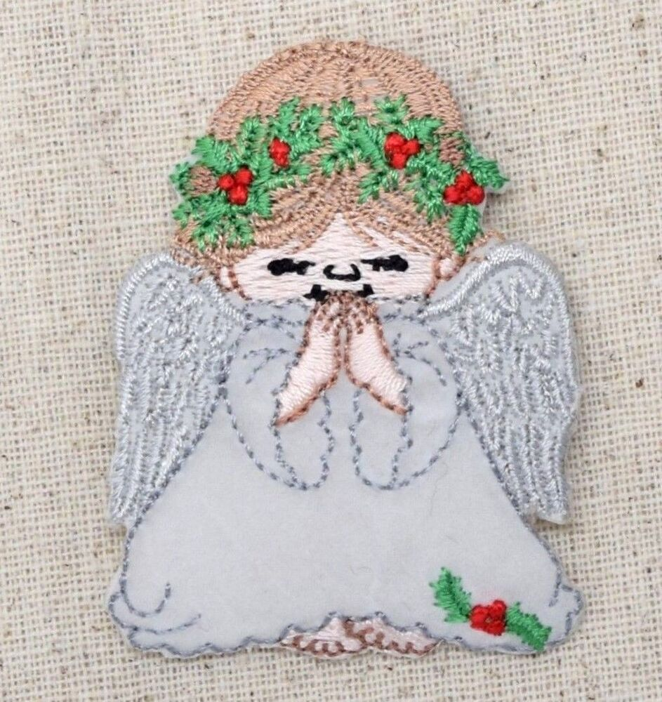 Iron On Embroidered Applique Patch Christmas Angel Holly Wreath Praying | EBay