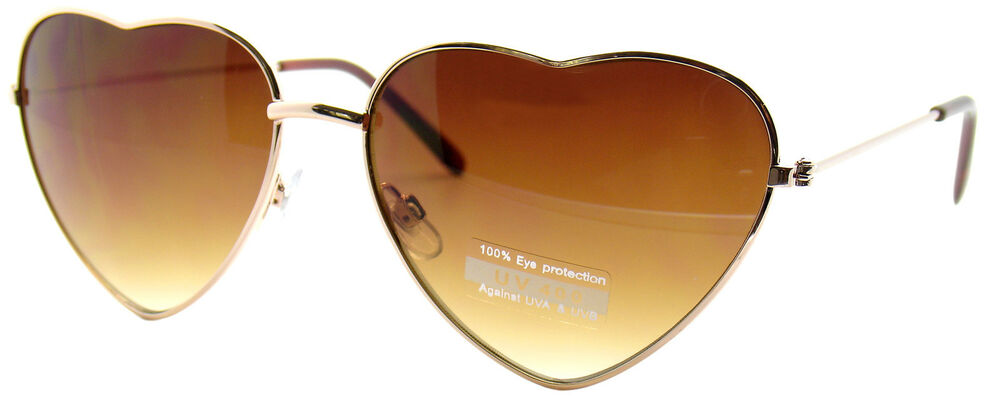 VERY CUTE GOLD HEART SHAPE WIRE FRAME BROWN LENS DESIGNER ...