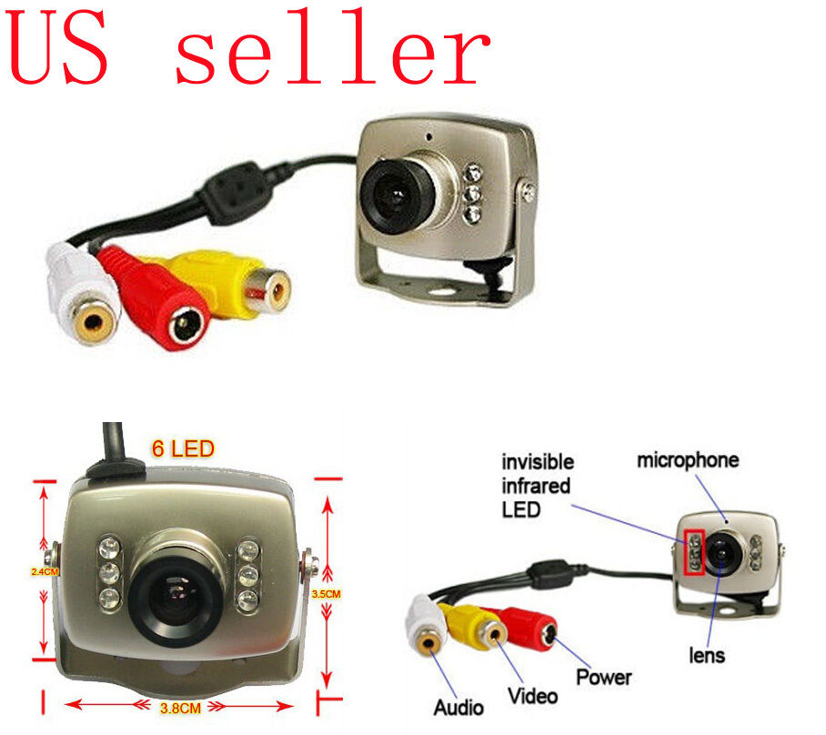 6 ir leds vision coms wire mini micro cctv home security ebay