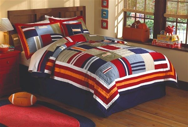 ronnie patchworks boys bold patch twin quilt w sham 14154 | s l1000