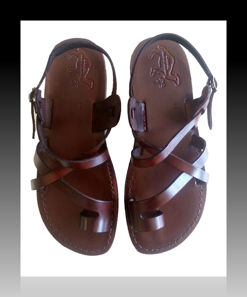 Womens Leather Sandals Brown Jesus Biblical Shoes