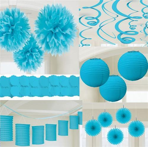 party deko hell blau papier laterne f cher girlande pompom. Black Bedroom Furniture Sets. Home Design Ideas