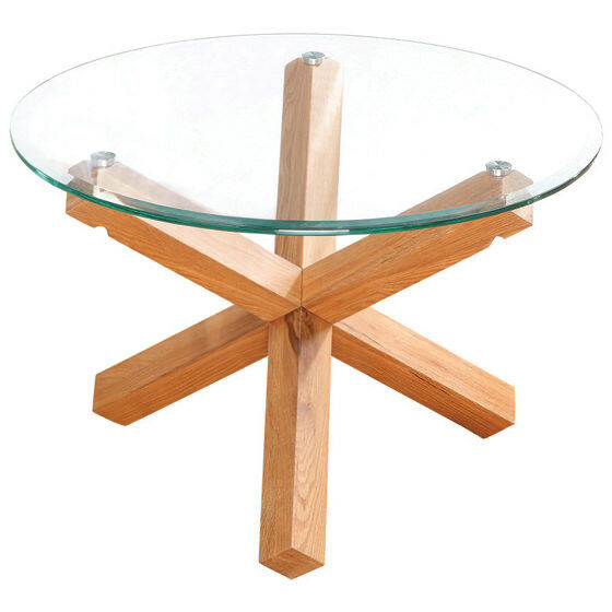 Solid Oak Glass Wood Round Coffee Table EBay
