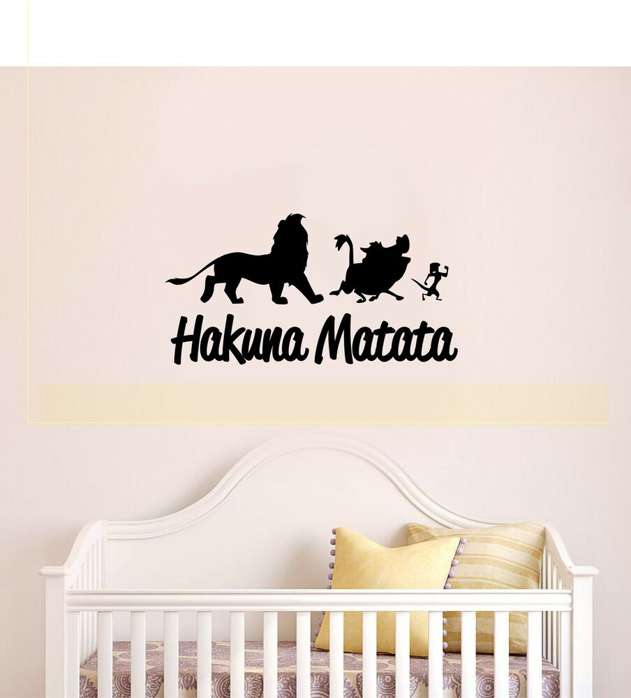 hakuna matata lion king quote simba timon pumbaa disney wall art decal sticker ebay. Black Bedroom Furniture Sets. Home Design Ideas