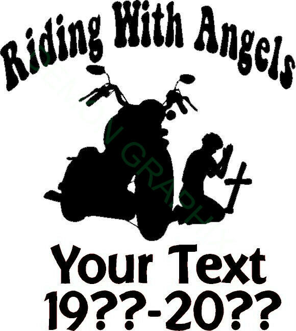Memorial Tribute Riding With Angels Vinyl Decal Motorcycle