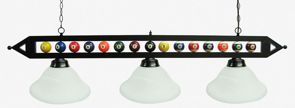 ball design pool table light billiard lamp w white glass shades ebay. Black Bedroom Furniture Sets. Home Design Ideas