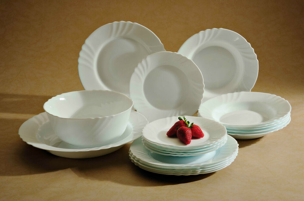 SET OF TRIANON CADIX LUMINARC 6 PC DINNER PLATES 8 PC BOWL SET EBay