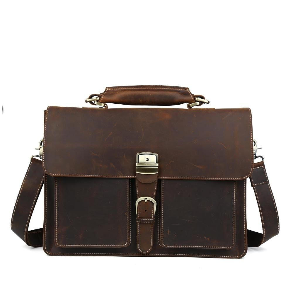 Vintage Mens Boyu0026#39;s Real Leather Briefcase 15u0026quot; Laptop Tote Case Business Bags | EBay