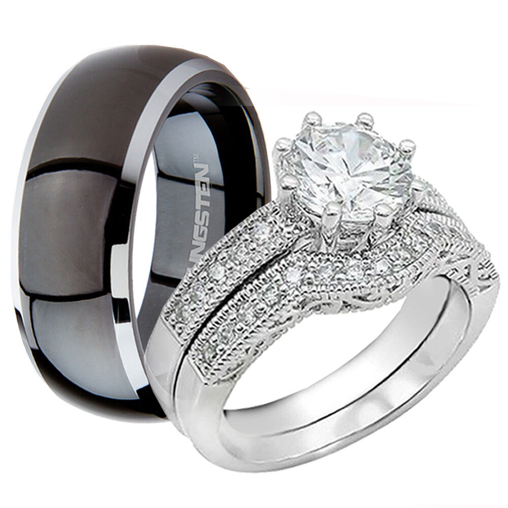 His Black Titanium Band Amp Hers 925 CZ Sterling Silver Wedding Bridal Ring Sets