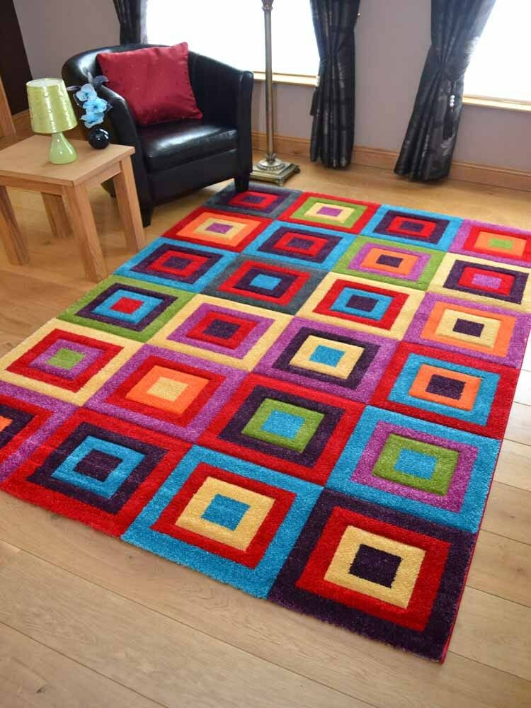 New Small Large Size Squares Soft Pile Bright Multi