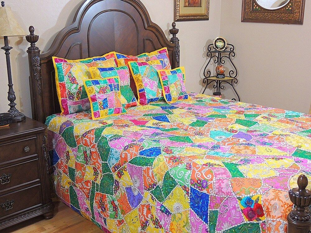 India inspired decorative bedding ethnic 7p sari bohemian for Decorative bed quilts