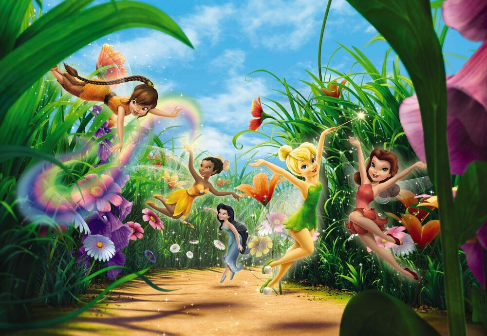 Fairies in the meadow wall mural photo wallpaper for kids for Disney mural wallpaper