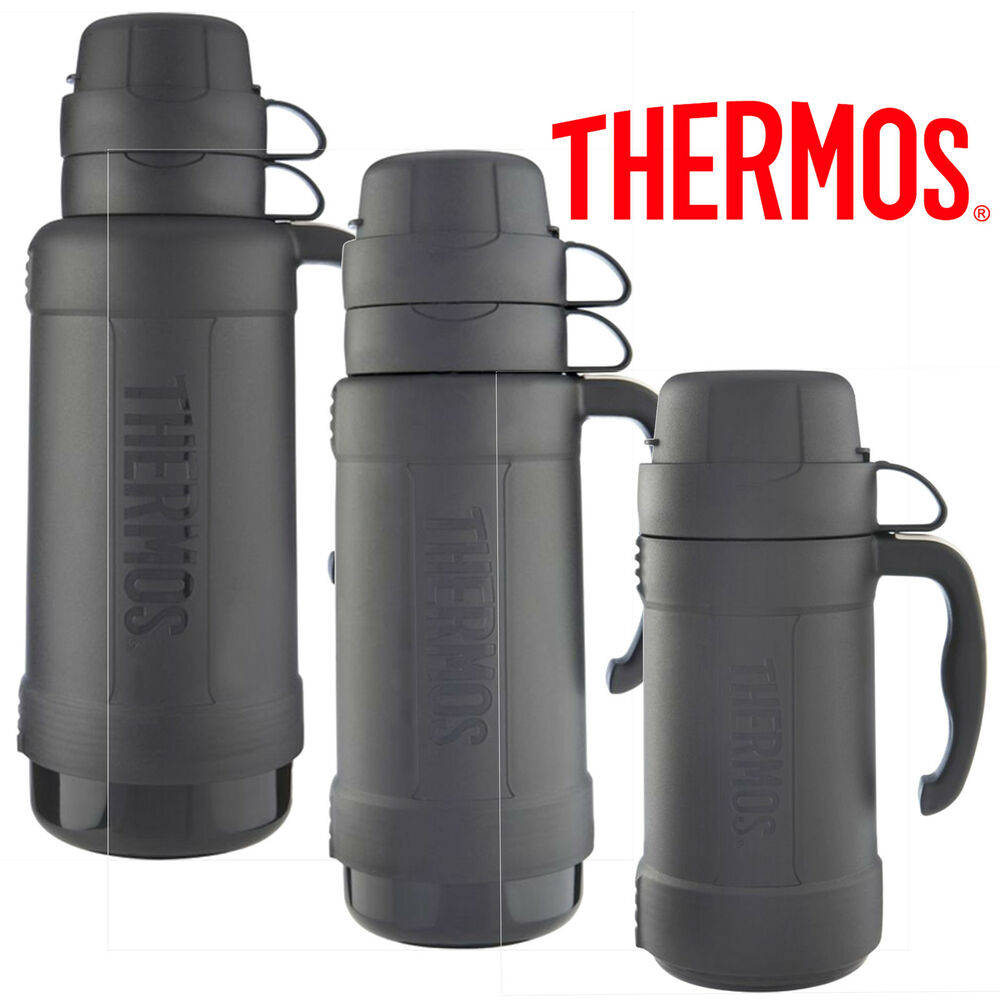thermos eclipse glass vacuum flask 1 8l 1 0l 0 5l black ebay. Black Bedroom Furniture Sets. Home Design Ideas